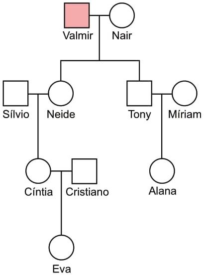 FAMERP 2021: Na genealogia a seguir, Valmir apresenta uma doença rara determinada por um alelo cuja herança é ligada ao sexo.