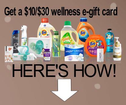 Procter & Gamble $10 off $30 Gift card rebate 2021