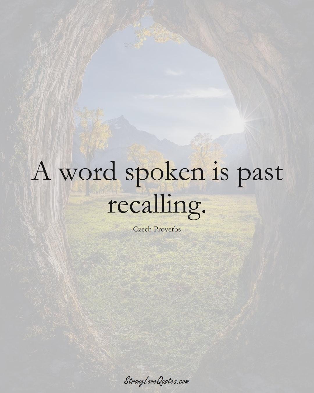 A word spoken is past recalling. (Czech Sayings);  #EuropeanSayings