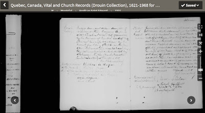 """creen capture from the image presented by Ancestry for Saint Edward Anglican Church (Montréal, Quebec, Canada), Quebec, Canada, Vital and Church Records (Drouin Collection), 1621-1968, """"1916 Parish Register,""""  marriage of James Shirlow and Sarah Rappell, 22 Feb 1916; digital images, Ancestry.com Operations, Inc., Ancestry.com (www.ancestry.com : accessed 27 Jul 2019)."""