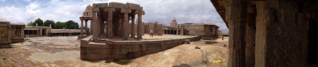 Panorama around the unfinished marriage hall at Veerabhadra Swamy Temple complex at Lepakshi, in Andhra Pradesh, India