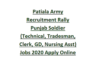 Patiala Army Recruitment Rally Punjab Soldier (Technical, Tradesman, Clerk, GD, Nursing Asst) Jobs 2020 Apply Online