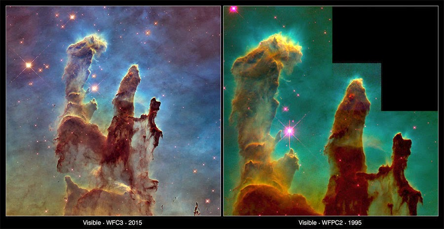 comparação fotos dos Pilares da Criação nova e antiga