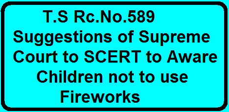 Rc.No.589 Suggestions of Supreme Court to SCERT to Aware Children not to use FireworksRc.No.589 Suggestions of Supreme Court to SCERT to Aware Children not to use Fireworks