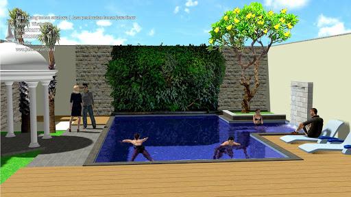Taman dan kolam renang belakang rumah