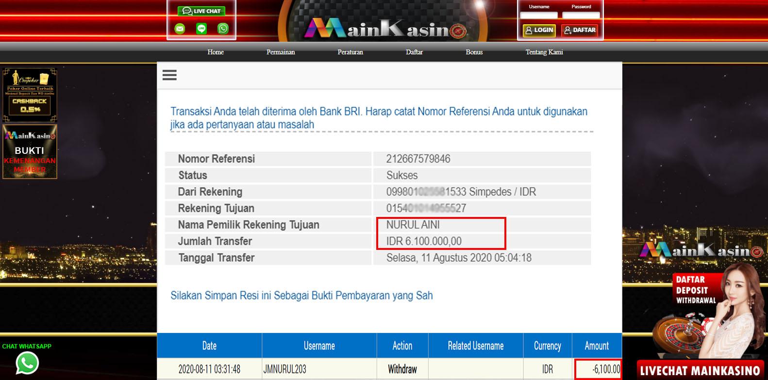 Selamat Kepada Member Setia MAIN KASINO Withdraw RP  6.100.000