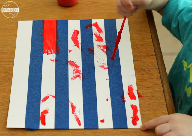 paint white stripes with red paint