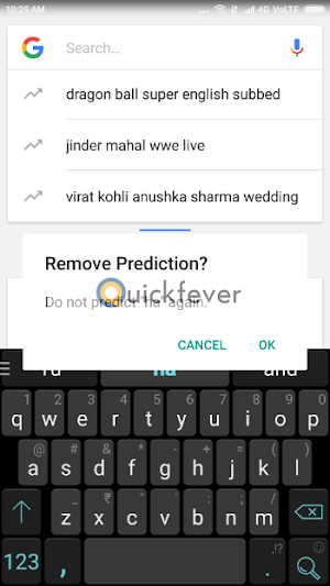 android keyboard delete key, predictive text