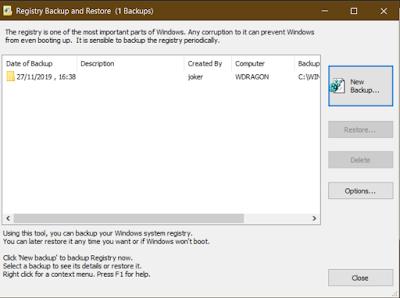 Regback: salvare il registro di sistema in Windows