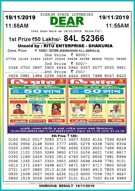 Sambad lottery 19-11-2019 Sikkim State Lottery Result 11.55 AM-lotterysambadresults.com