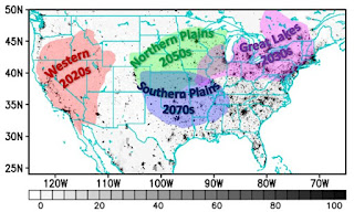 The four dominant heat wave clusters (i.e., Western, Northern Plains, Southern Plains, and Great Lakes) are embedded on top of a population count of US counties (gray shading) units of population per arc-second squared or about 600m2. The 21st Century years provided below the name of each cluster represents the decade for which Human-caused climate change may be a dominant factor in the occurrence of heat waves when compared to natural variability. (Credit: Hosmay Lopez) Click to Enlarge.