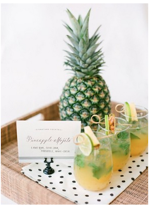 Cute Lifestyles of Pineapple Mojitos in Glasses with a Pineapple
