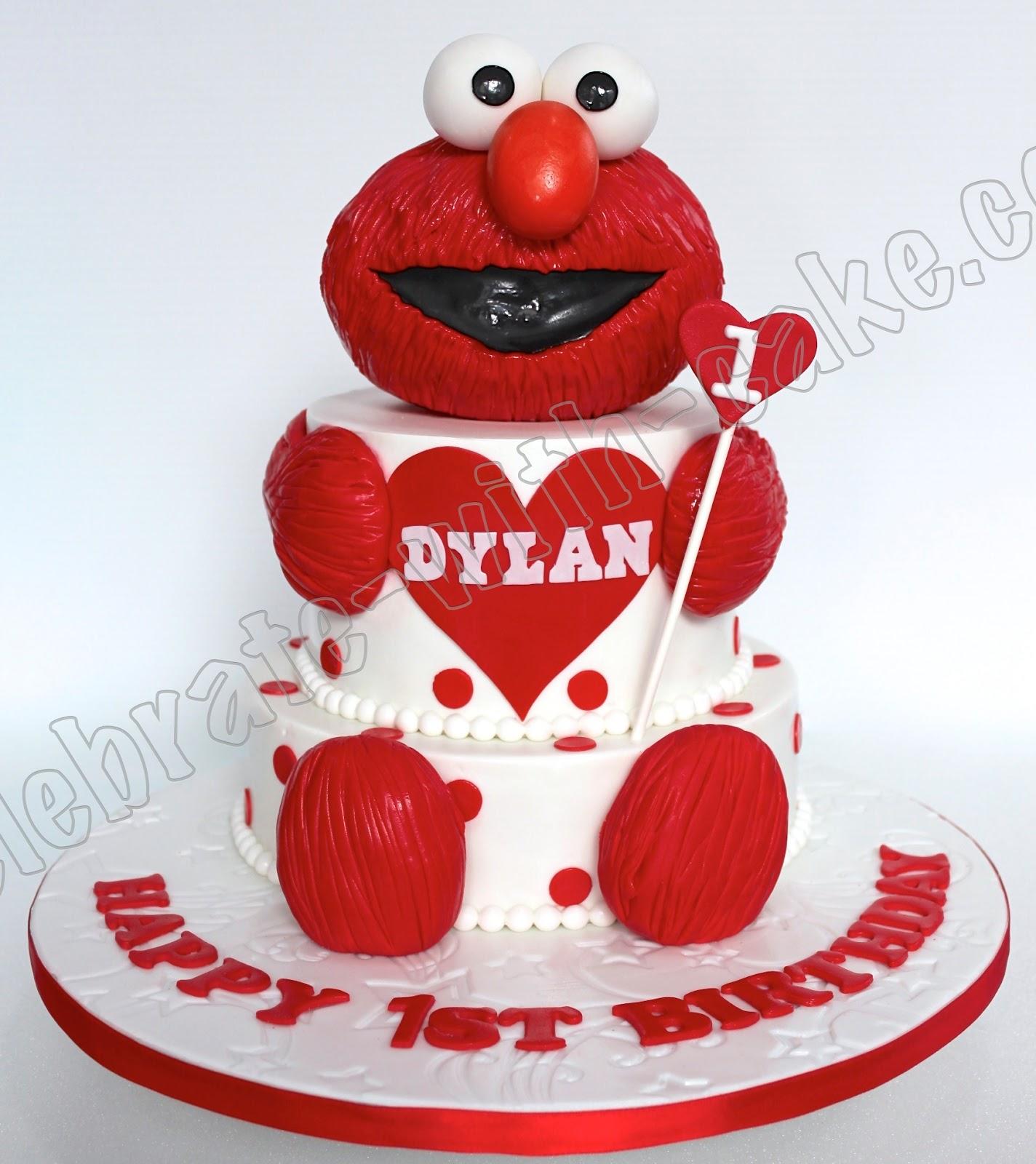 1st Birthday Baby Elmo 2 Tier Cake