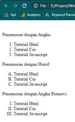 Type penomoran list item