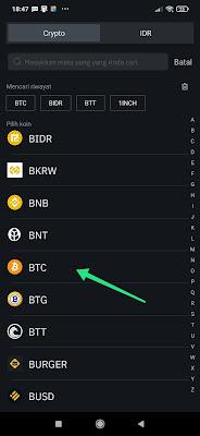 Cara mendapatkan Alamat BTC di Tokocrypto