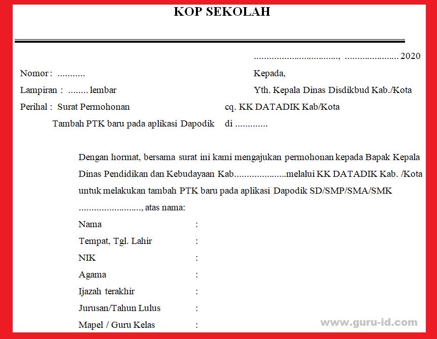 gambar surat permohonan tambah ptk baru di dapodik 2021