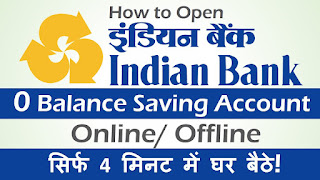 indian bank zero balance account opening online