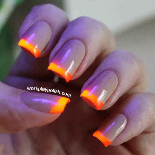 Neon tipped nude french manicure