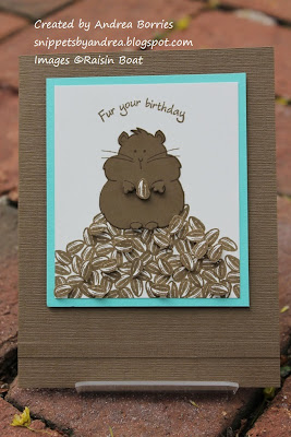 Birthday card with a hamster sitting on a pile of sunflower seeds. Images from the Hug a Hamster set from Raisin Boat.