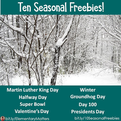 Ten Seasonal Freebies! There are ten FREE resources to help keep learning happening in your primary classroom from mid-January through February!