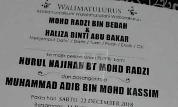 Kad Kahwin Muhammad Adib Tular Undang Kesedihan Netizen