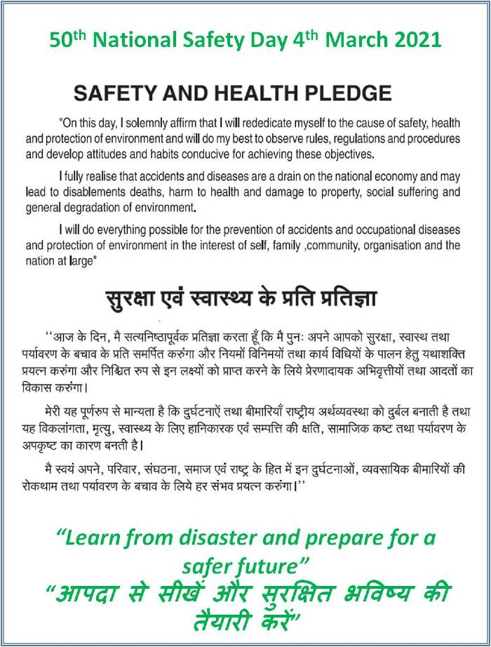 Safety Pledge in English and Hindi