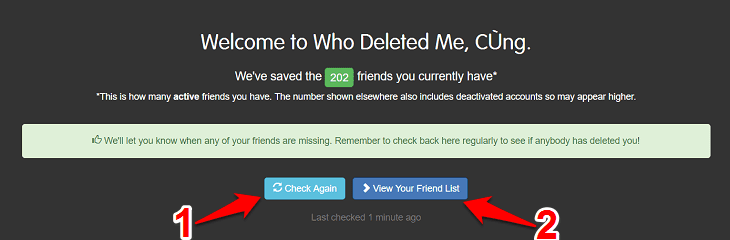 Nhấn vào Check Again và sau đó là View Your Friendlist