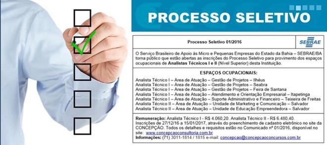 Sebrae Bahia tem seleção com inscrições abertas até dia 15 de Janeiro