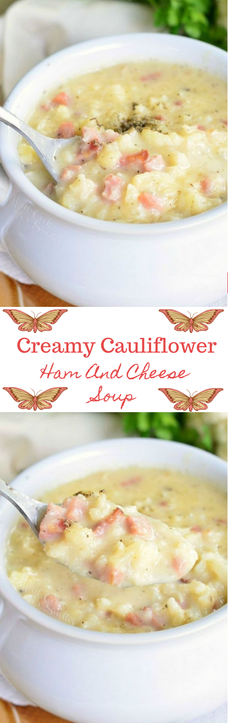 CREAMY HAM AND CHEESE CAULIFLOWER SOUP #soup #dietketo #paleo #breakfast #food