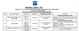 ITI, Diploma Graduates Job Vacancy Walk In For Technical Staff  Production In Micro Labs Ltd