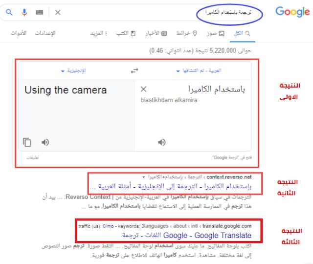 ترجمة بإستخدام الكاميرا