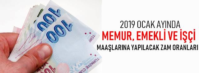 maaş zamları 2019