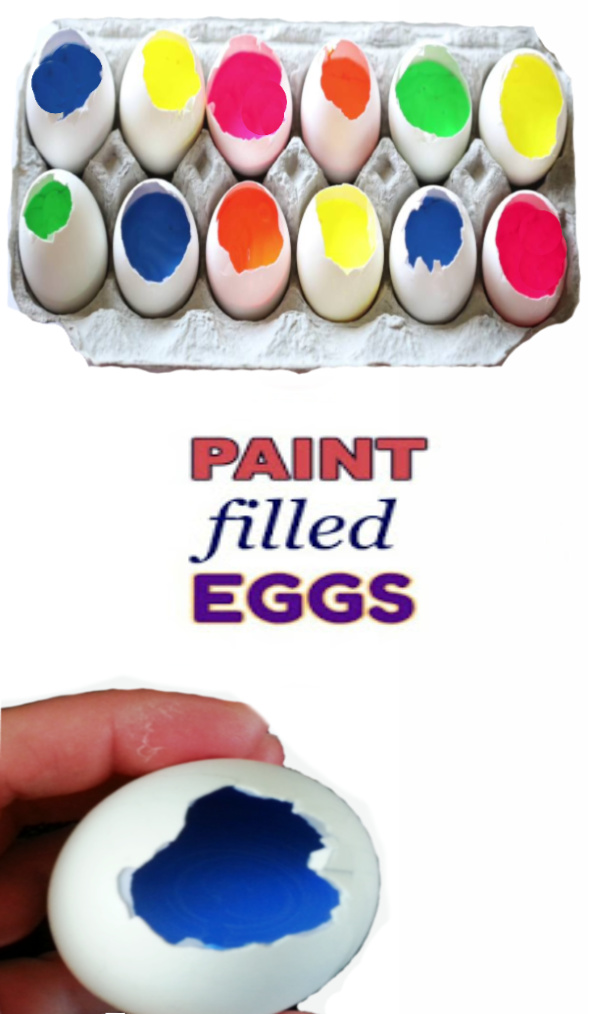 Fill eggs with paint and toss them at canvas to make art.  How to make paint filled eggs for kids. #paintfilledeggs #growingajeweledrose #paintingideasoncanvas #paintfilledeggsoncanvas #paintfilledeggsart #painteggs #painteggsdiy #eggcrafts #eggcraftsforkids #eggpainting #eggpaintingcanvas #eggpaintingideasforkids