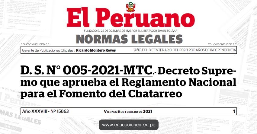 D. S. N° 005-2021-MTC.- Decreto Supremo que aprueba el Reglamento Nacional para el Fomento del Chatarreo