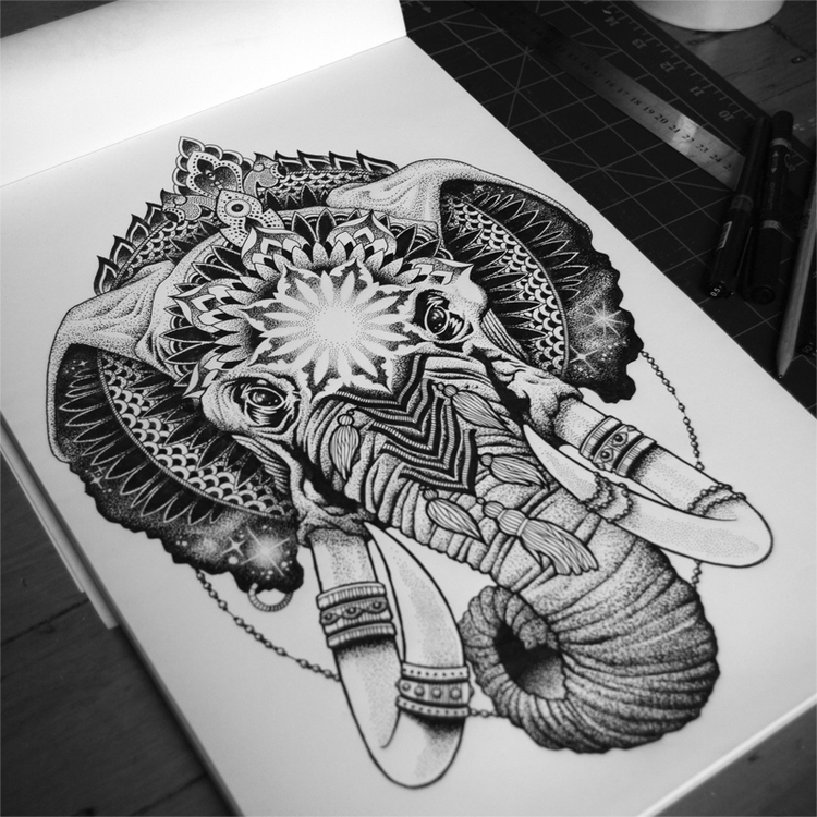 08-Elephant-Tony-Graystone-Neon-Mystic-Black-and-White-Drawings-www-designstack-co