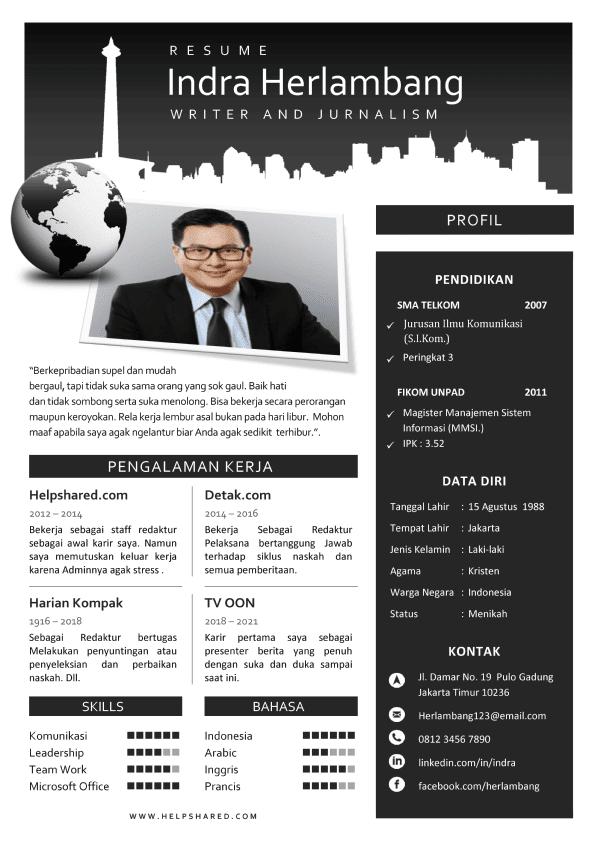 Contoh CV Lamaran Kerja Modern Curriculum Vitae 2