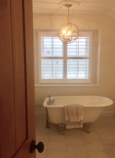 image result for hello lovely master bath fixer upper clawfoot tub