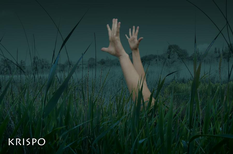 brazos alzados de mujer tumbada encima de hierba de noche