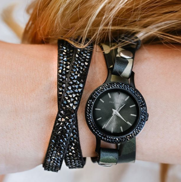 Black Twist Watch with Jet Swarovski Crystals Face - Shop Origami Owl Watches at StoriedCharms.com
