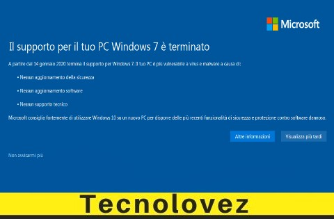 "Come Eliminare la notifica ""Il supporto per il tuo PC Windows 7 è terminato"""