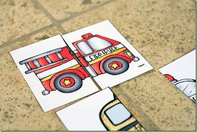 Puzzles para trabajar los medios de transporte, las formas y concordar las partes delanteras con las traseras.