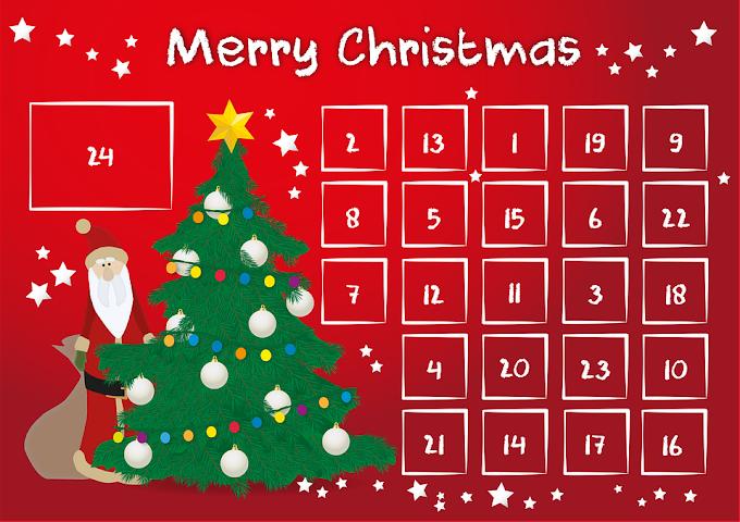 Advent Calendar christmas background free vector