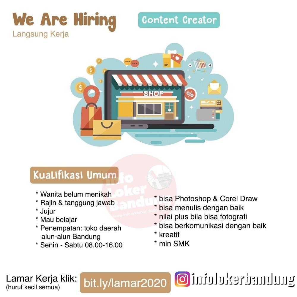 Lowongan Kerja Content Creator Toko Online Shop Bandung Januari 2020