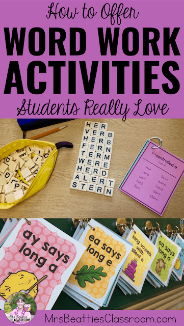 "Photos of word work resources with text, ""How to Offer Word Work Activities Students Really Love."""