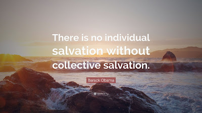 """ID: a rocky beach scene has white text superimposed with Barack Obama's quote """"There is no individual salvation without collective salvation."""""""