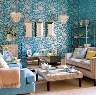 Design Living Room With Blue Wallpaper