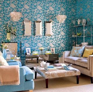 Dalam sebuah rumah tentu terdapat satu ruang untuk mendapatkan tamu Design Living Room With Blue Wallpaper