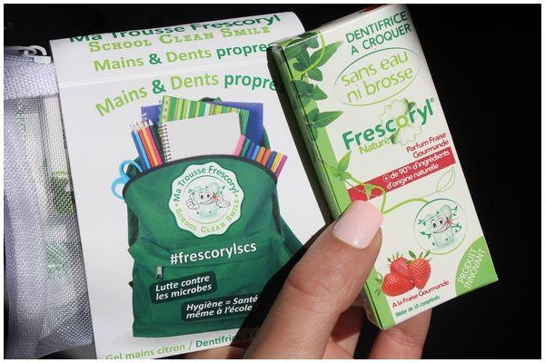 Trousse School Clean Smile et l'étuis de Dentifrices à croquer saveur fraise, Frescoryl - Blog beauté