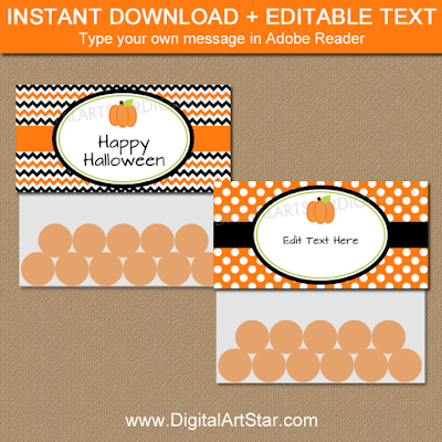 pumpkin party printable bag toppers to make Halloween party favors for baby shower, birthday, bridal shower, wedding