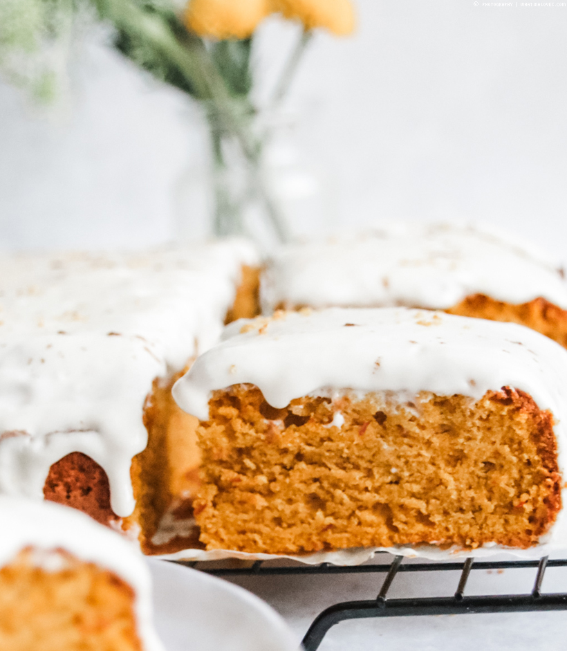 spicy pumpkin orange cake with frosting